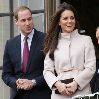 Prince William And Kate Middleton in Cream Coat In Cambridge