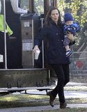 Jennifer Garner got off a trolley while holding Samuel Affleck in New Orleans.