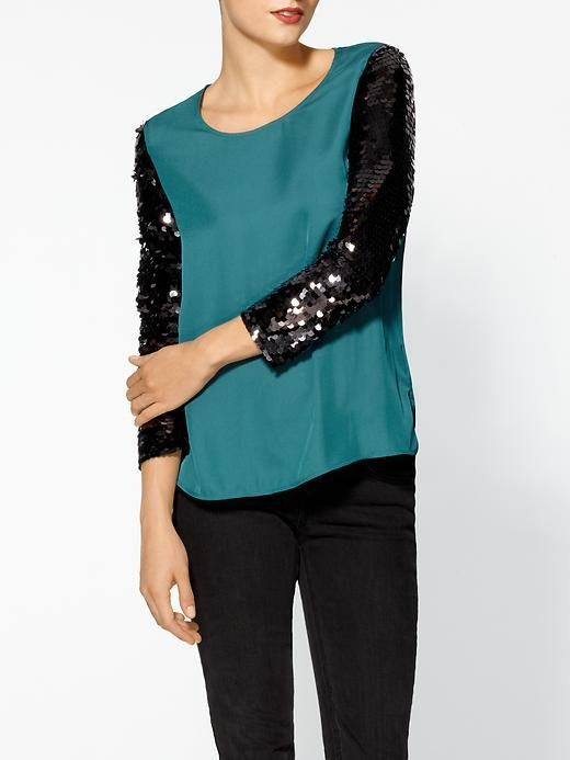The sequined sleeves on this Ark & Co. blouse ($69) make it a sleek, festive option for the holidays.