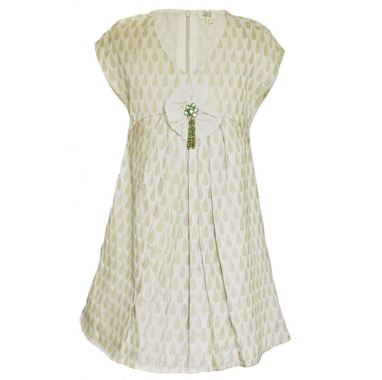 A closer look at the Navya dress ($128), made from Benarasi silk, lined in cotton with a silk chiffon flower and beading.