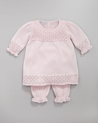 Kissy Kissy Crocheted Dress and Leggings Set