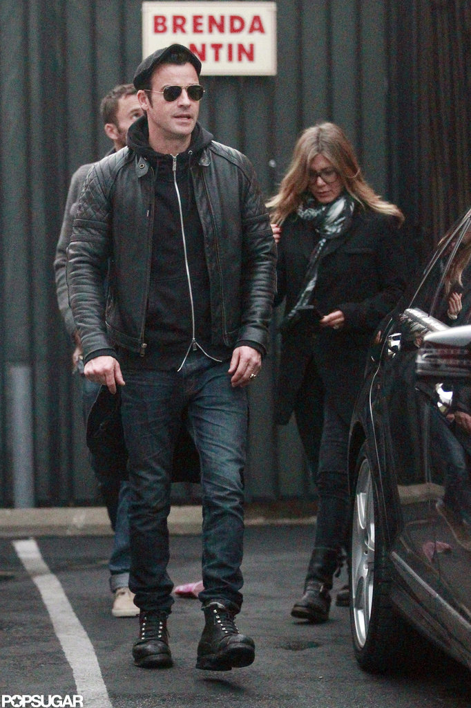 Jennifer Aniston and her fiancé, Justin Theroux, were both decked out in black for a rainy LA afternoon of furniture shopping in November.