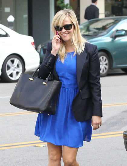 Reese Witherspoon chatted on her phone.
