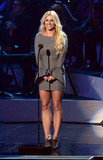 Britney Spears spoke onstage during a Whitney Houston tribute concert in October 2012.