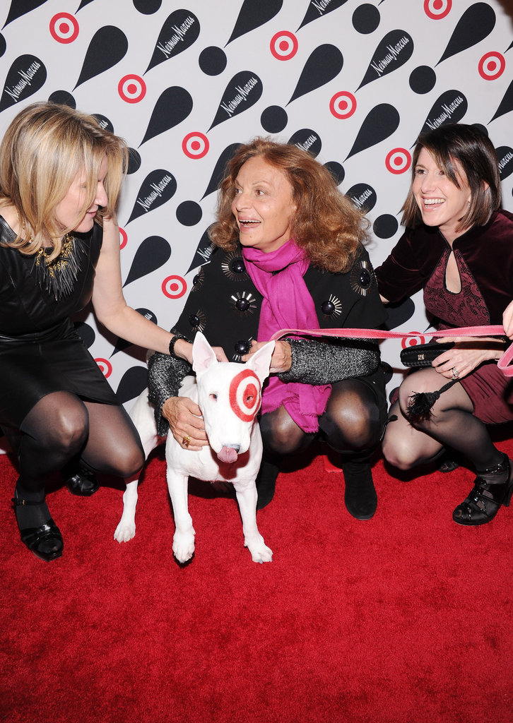 Diane von Furstenberg and friends gave the Target dog a pet on the red carpet.