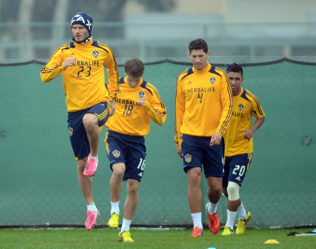 David Beckham practiced with his LA Galaxy teammates.