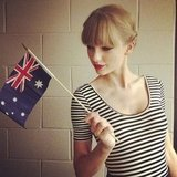 Taylor Swift waved an Australian flag while backstage at the ARIA Awards. Source: Instagram user taylorswift