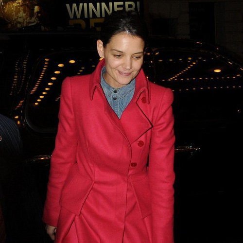 Katie Holmes Wearing Red Coat