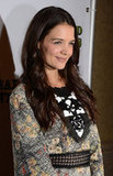 Katie Holmes wore a printed dress at the Dead Accounts after party in NYC.