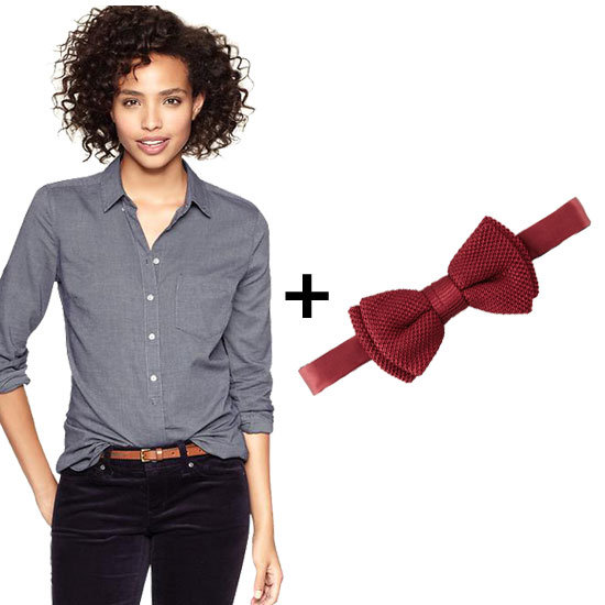 We love a red bow tie. Pair this luxe Lanvin rendition with a dark chambray top and leather skinnies for a quirky downtown aesthetic. Get the look:  Gap Perfect Oxford Shirt ($50) Lanvin textured bow tie ($155)
