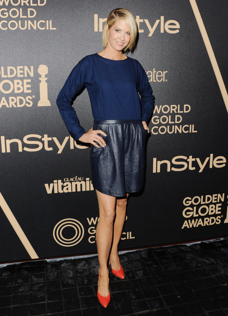 Jenna Elfman donned blue leather — and spiced it up with a pair of red pumps.