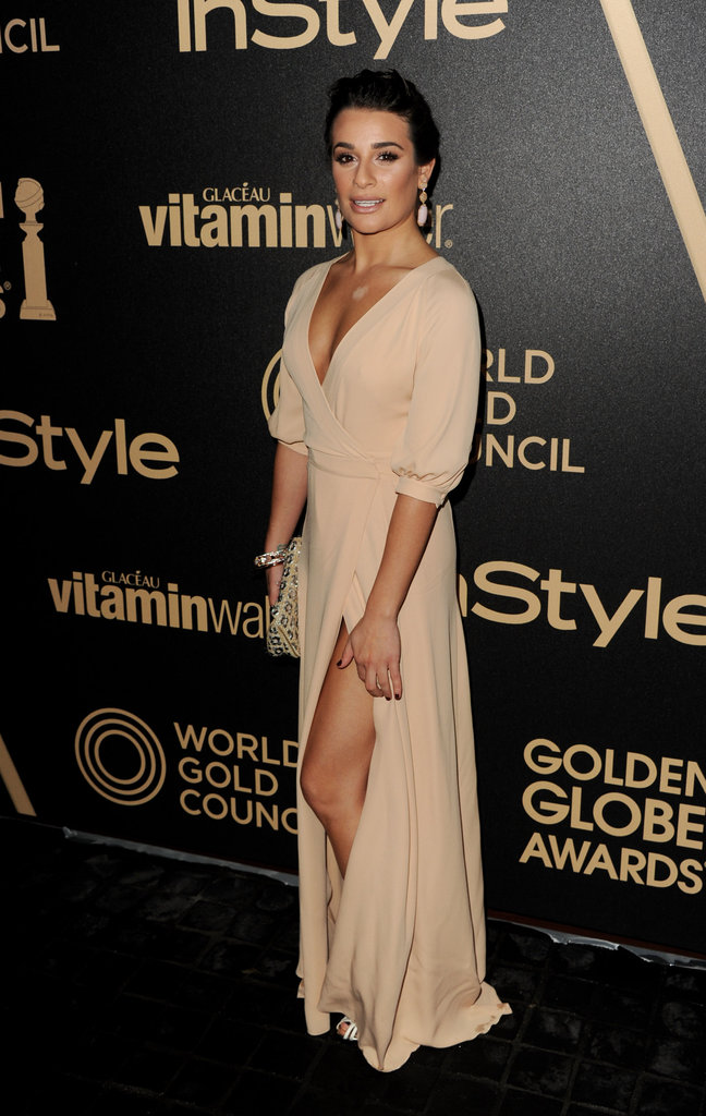 Lea Michele again showed her penchant for sultrier slit gowns with this leg-baring nude Valentino number at the InStyle 2013 Golden Globe Awards season party.