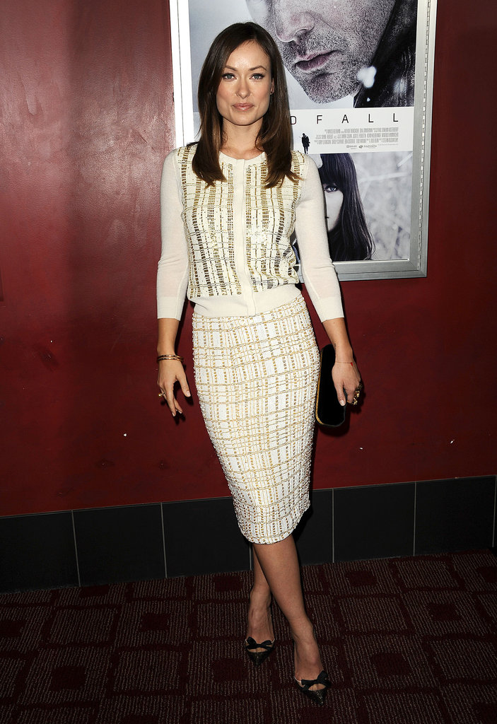 Olivia Wilde wore a festive but sleek L'Wren Scott ensemble to the premiere of Deadfall in LA.