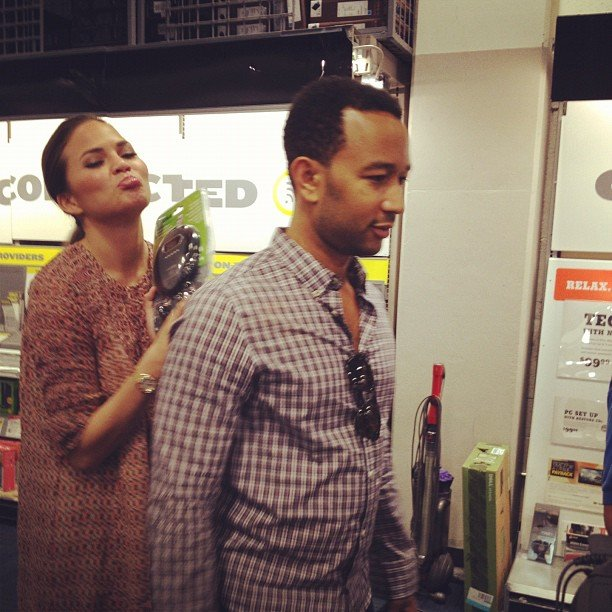 Chrissy shared a funny photo of herself begging John Legend to buy her a Discman. Source: Instagram user chrissy_teigen