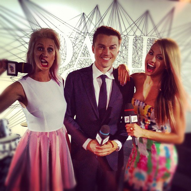 Maude Garrett, James Kerley and Jesinta Campbell teamed up to host the red carpet for the ARIA Awards. Source: Instagram user jesinta_campbell