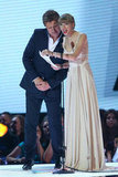 Taylor returned to the stage towards the end of the night to present best male artist to Gotye with Richard Wilkins.