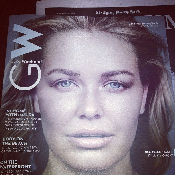 Spotted! One of our faves, Lara Bingle, looking bare and beautiful on the cover of Good Weekend.