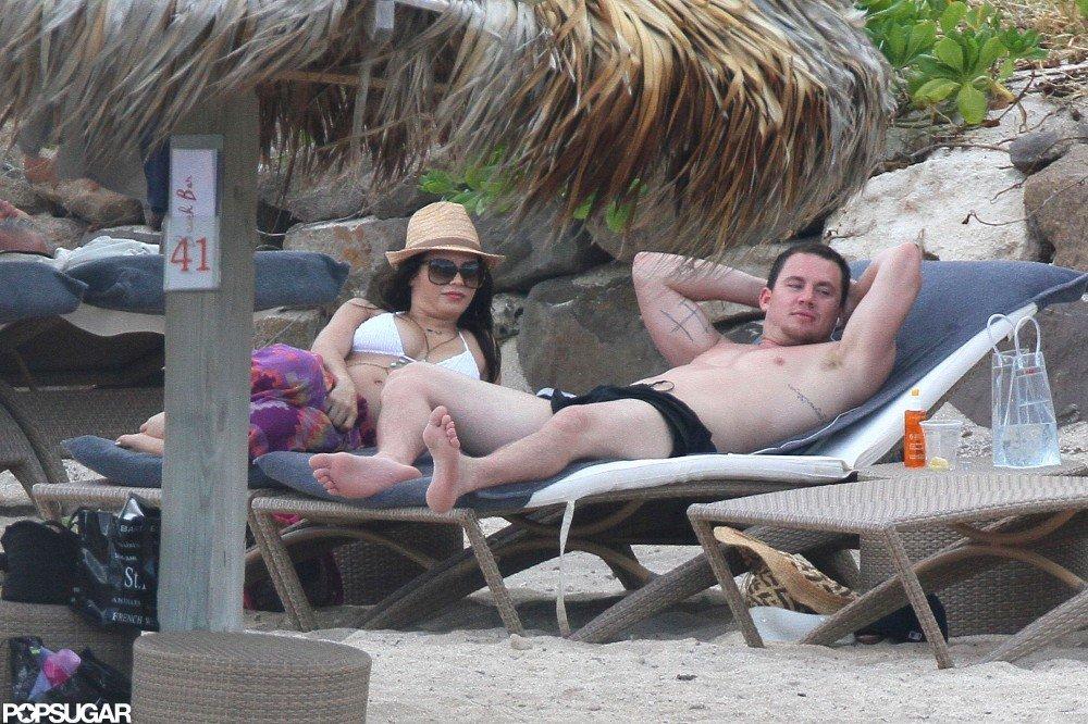 Channing Tatum lounged with Jenna Dewan.