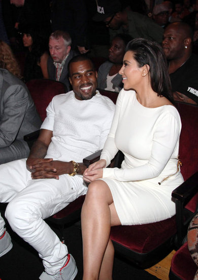 Kim Kardashian and Kanye West shared a laugh in the front row at the 2012 BET Awards in LA.