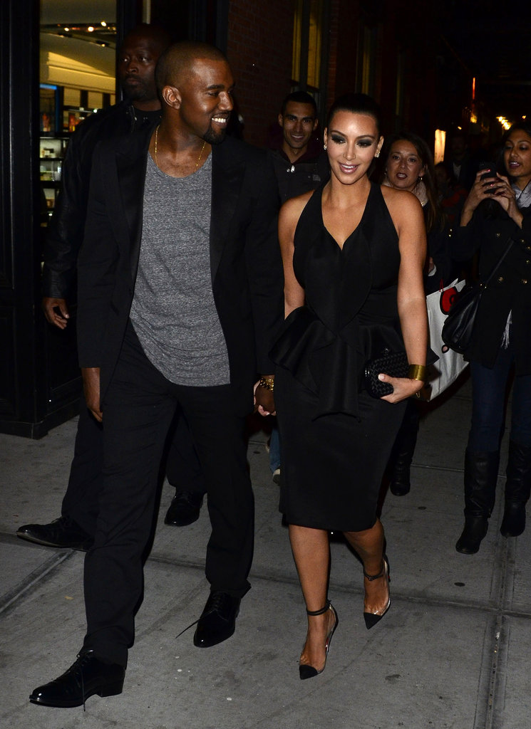 Kanye and Kim held hands after dinner in NYC in April 2012.