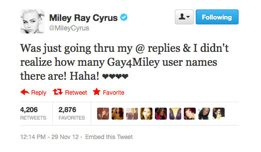 Miley Cyrus feels the love.