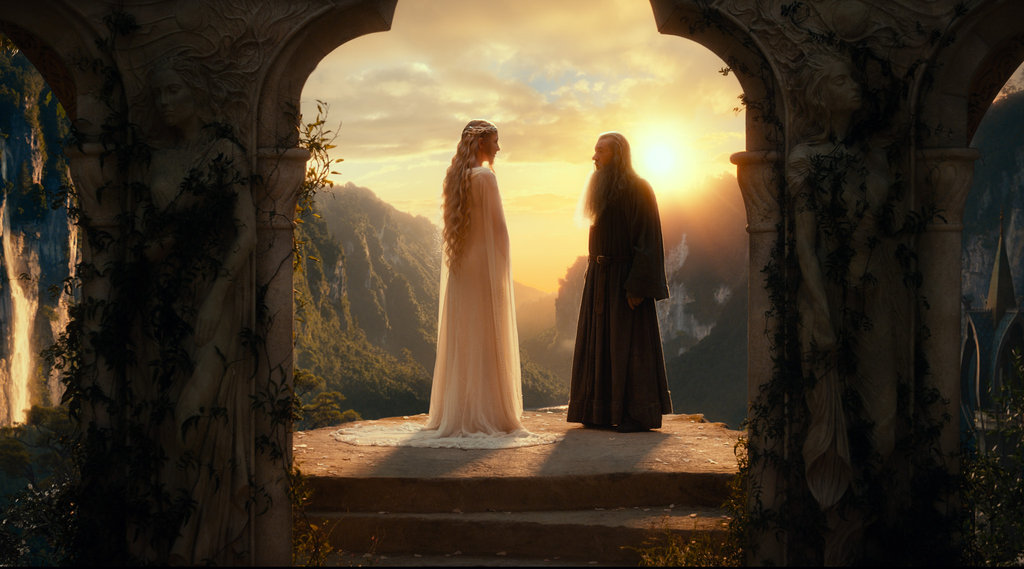 Cate Blanchett and Ian McKellan in The Hobbit: An Unexpected Journey.