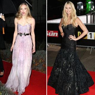 Elle MacPherson Black Dress; Amanda Seyfried Lilac McQueen