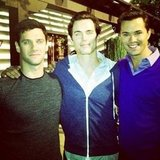 Justin Bartha, Matt Bomer, and Andrew Rannells made for a pretty sexy sandwich. Source: Instagram user aliadler