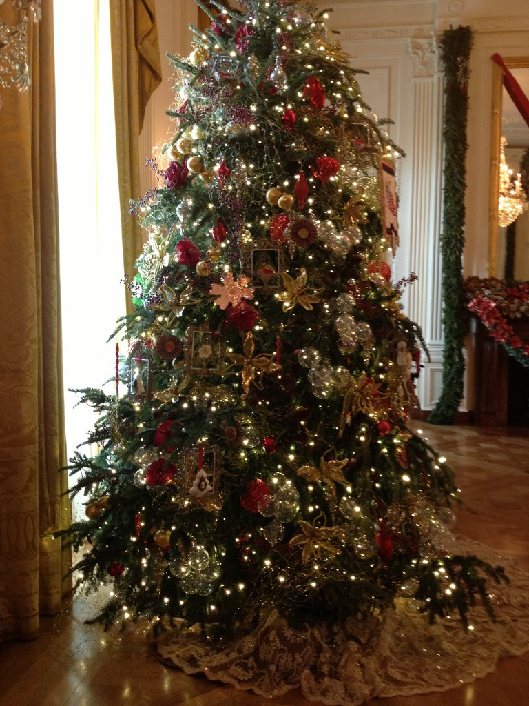We took a closer look at one of the four elegant trees in the East Room.