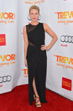 Brittany Snow looked chic in a thigh-high-slit Halston dress.