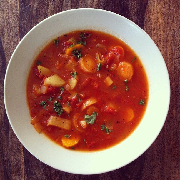 Soup is a lunchtime staple now that Winter has arrived, and minestrone is a smart choice — fresh veggies and protein-filled beans.  Source: Instagram user annechristina8000