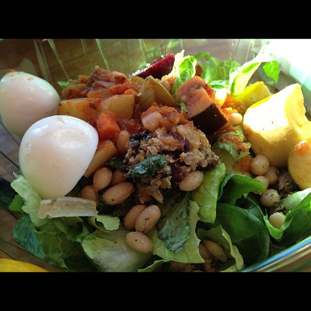 Our readers love salad! Here's one made up of eggs, white beans, quinoa, and, of course — veggies! Source: Instagram user eirenm