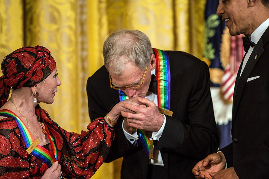 David Letterman kissed the hand of fellow honoree Natalia Makarova.