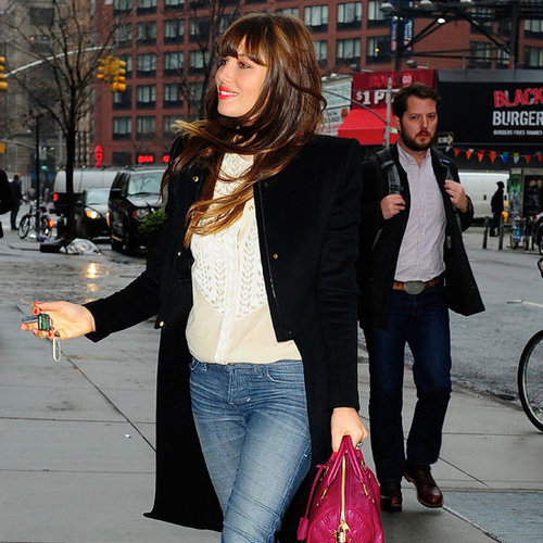 Jessica Biel Wearing High Low Coat
