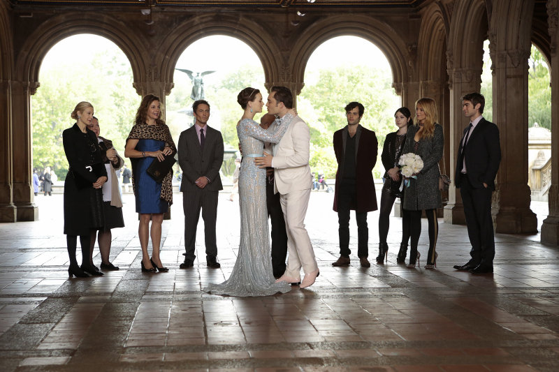 "Blair and Chuck say their own vows, which includes a throwback to an earlier episode: ""Three words. Eight letters."""
