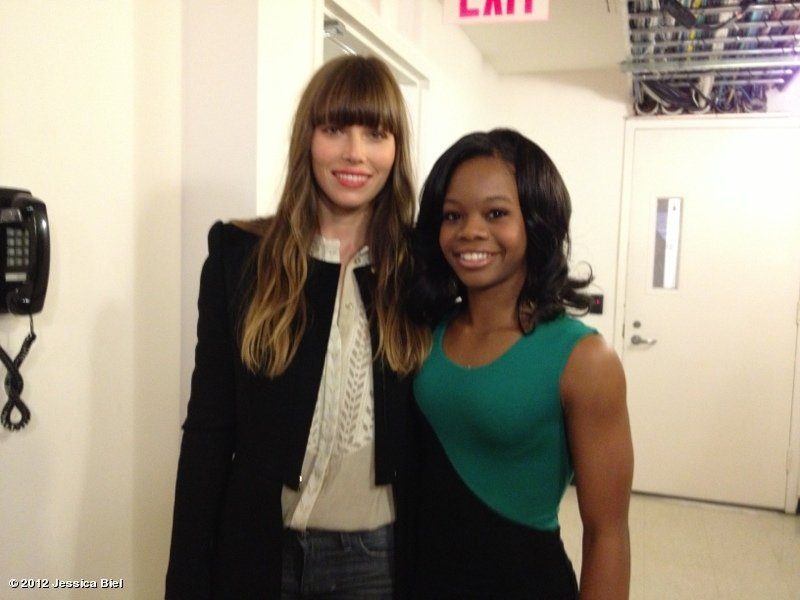 Jessica Biel ran into Olympian Gabrielle Douglas backstage at Good Morning America. Source: Jessica Biel on WhoSay