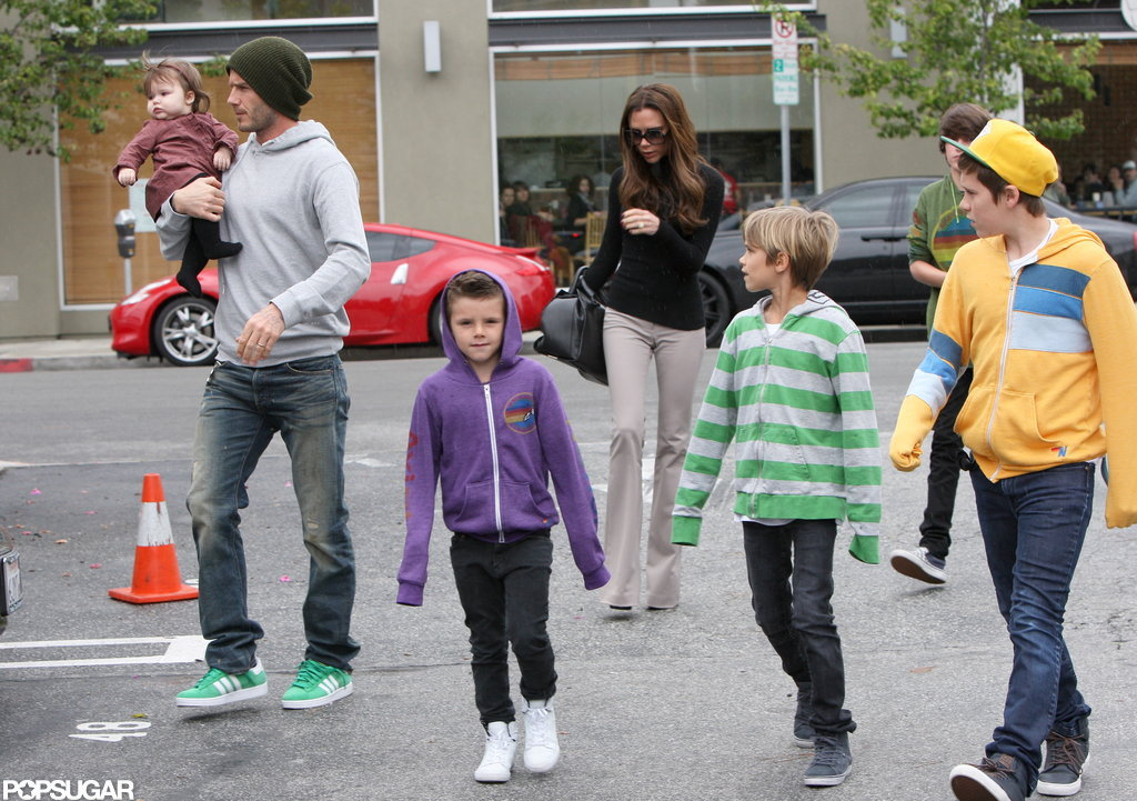 The whole Beckham crew grabbed lunch in LA in March.