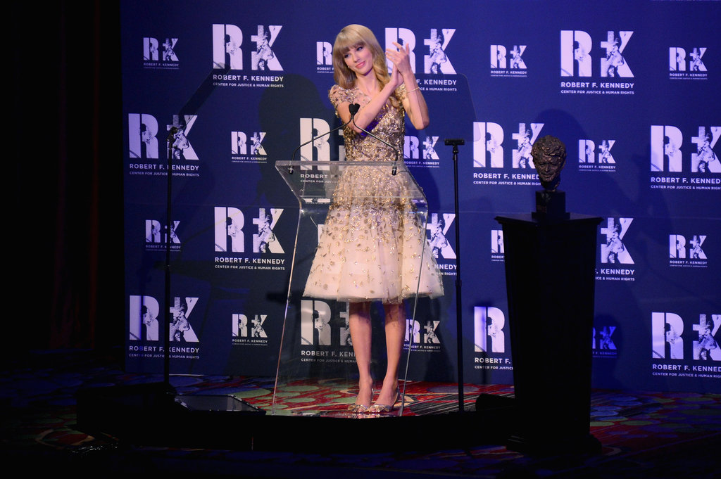 Taylor Swift appeared on stage in NYC.