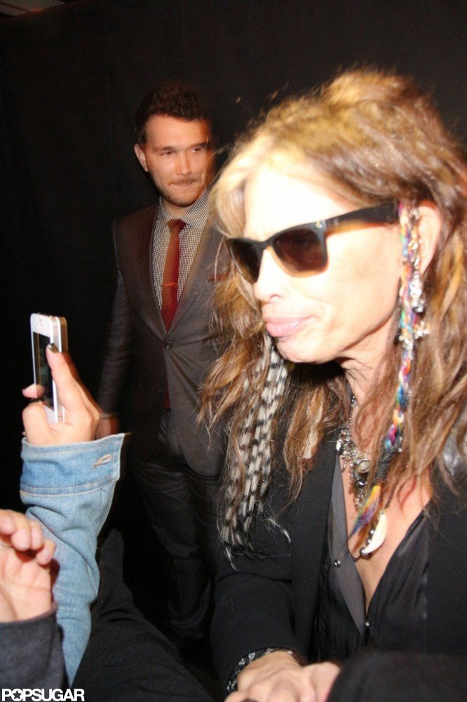 Steven Tyler celebrated after Aerosmith's LA show.