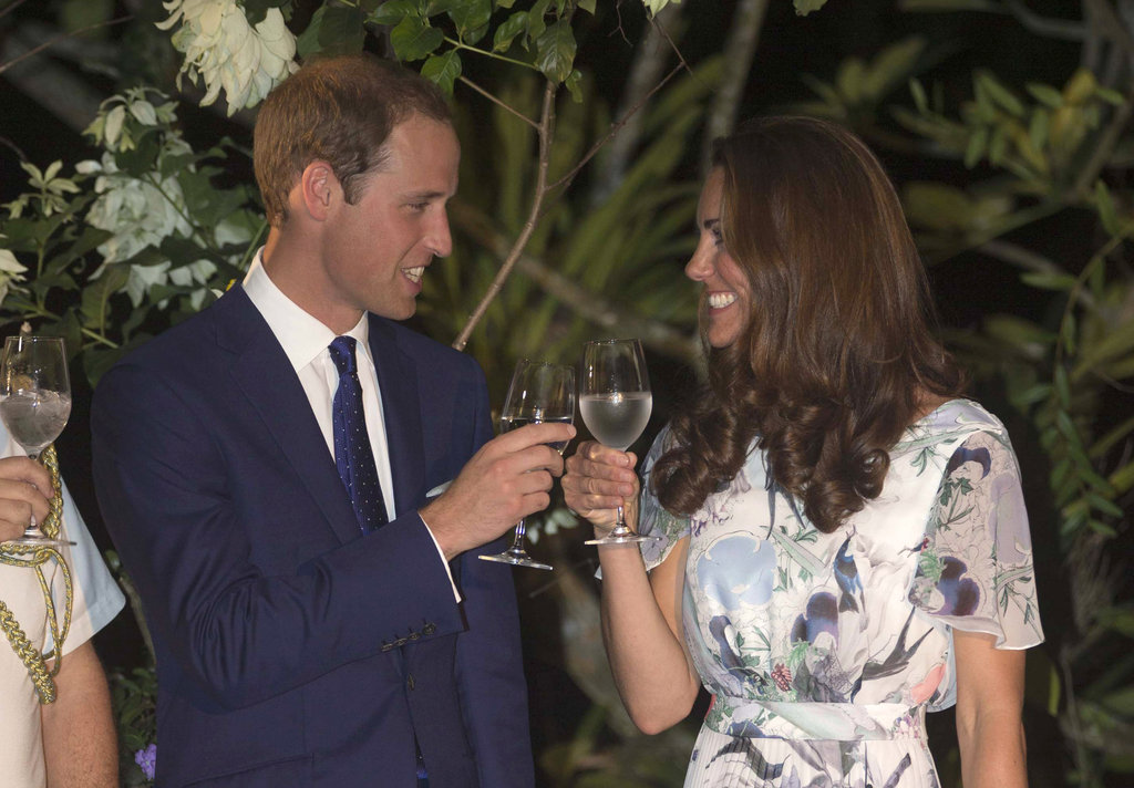 Cheers! William and Kate raised a glass in Singapore in Sept. 2012.