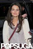 Katie Holmes kept warm in a light sweater.