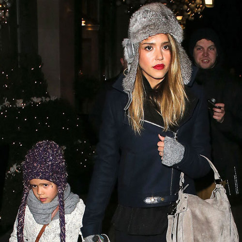 Jessica Alba Wearing Fur Trapper Hat