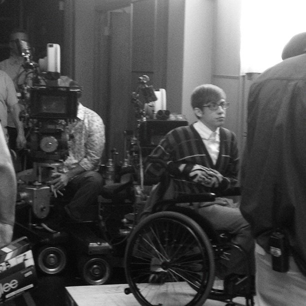 Chord Overstreet caught a candid moment on the set of Glee. Source: Instagram user chordover