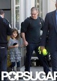 Matt Damon held hands with his daughter in LA.