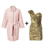 For a look that's a little more high contrast, opt for a pinker hue against a dark gold minidress, like this gorgeous combo here. Get the look:  Emilio Pucci blush wool coat ($2,280) Opulence England sequined dress ($160, originally $215)