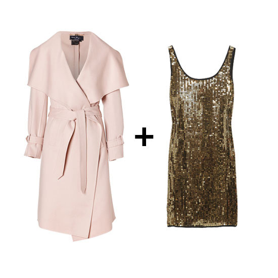 We found Camilla's exact Salvatore Ferragamo coat! Pair it with this festive mini and black pointed-toe pumps for a dazzling combo. Get the look:  Salvatore Ferragamo cream pearl cashmere coat ($2,520) DKNY sequined dress ($195, originally $345)