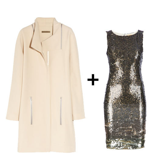 Zipper details on this Victoria Beckham coat give this look just the right amount of edge. Get the look:  Victoria Beckham zip detail wool coat ($1,155, originally $3,295) Alice + Olivia sequined dress ($466, originally $621)