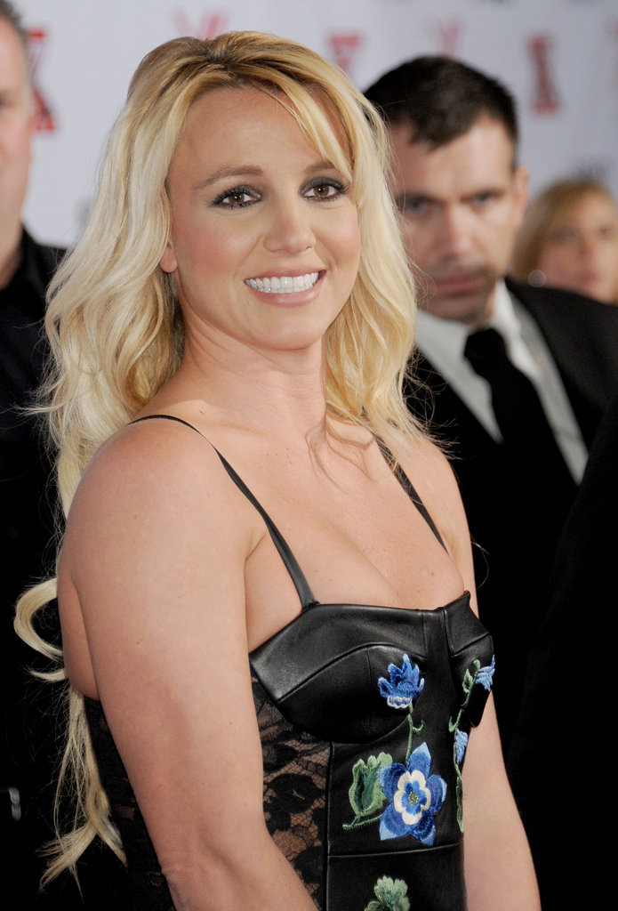 Britney Spears was all smiles for the viewing party.