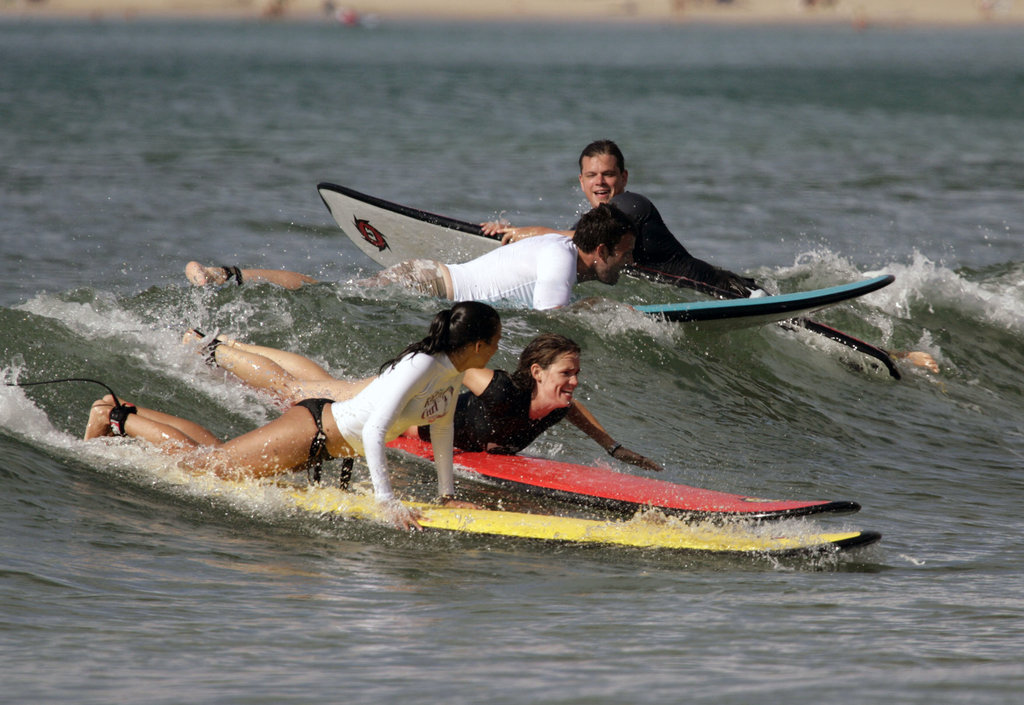 Matt and Luciana Damon went surfing in Hawaii with Jennifer Garner and Ben Affleck in July 2007.