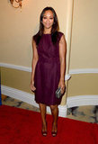 Zoe Saldana opted for an understated Giambattista Valli sheath in a rich plum color, which she polished off with Gucci heels and a Lanvin clutch.
